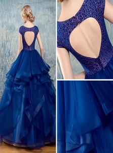 Ball Gown Scoop Floor Length Short Sleeves Tulle Prom Dresses