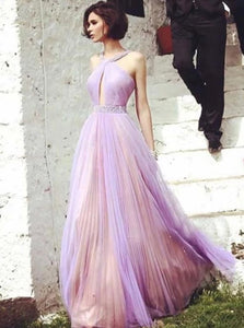 A Line Halter Floor Length Tulle Prom Dresses with Pleats