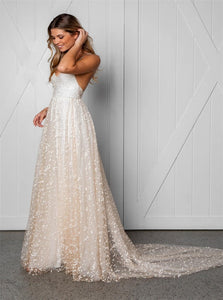 A Line Straps Lace Backless Wedding Dresses with Slit