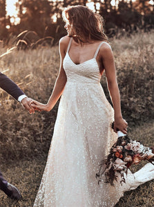 Sweep Train Champagne Wedding Dresses