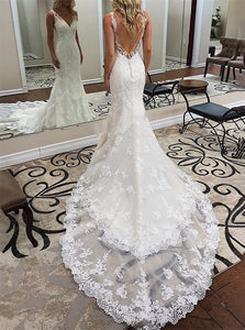 Mermaid Sweep Train Sleeveless Lace Wedding Dresses