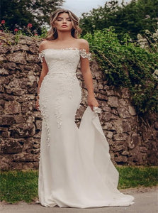 Off the Shoulder White Satin Wedding Dress with Appliques