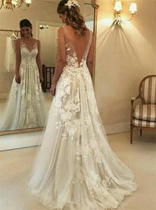 A Line V Neck Open Back Tulle White Wedding Dresses