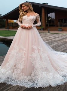 Long Sleeves Off the Shoulder Lace Tulle Wedding Dresses