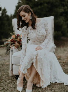 Sheath Lace Long Sleeves Scoop Backless Ivory Wedding Dresses