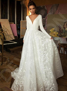Long Sleeves Lace Satin Deep V Neck White Wedding Dresses