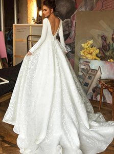 A Line Open Back Satin Wedding Dresses