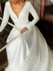 White Satin Sweep Train Wedding Dresses