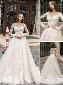 A Line Long Sleeves Pink Lace Wedding Dresses