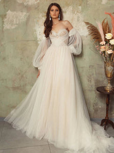 Off The Shoulder Tulle Wedding Dress Long Sleeve A Line