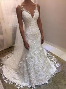 Lace Sheath V Neck Sweep Train Wedding Dresses