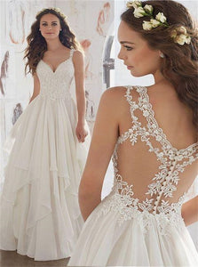 V Neck Lace Appliques Chiffon Wedding Dresses with Ruffles
