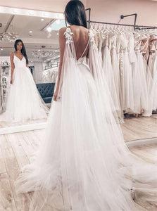 A Line Tulle Sleeveless V Neck Backless Wedding Dresses