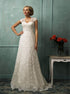 Lace Cap Sleeves Scoop A Line Wedding Dress LBQW0107