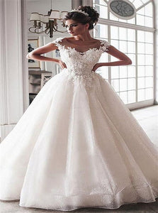 Ball Gown Applique Sequins Short Sleeves Wedding Dresses