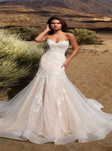 Mermaid Lace Appliques Tulle Wedding Dresses with Sweep Train