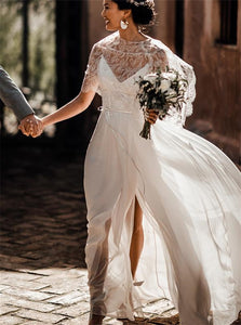 A Line Scoop Wedding Dresses with Slit