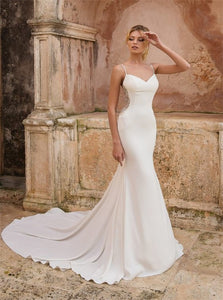 Spaghetti Straps V Neck White Mermaid Satin Wedding Dresses
