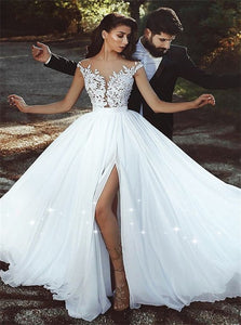 A Line V Neck Sweep Train Wedding Dresses with Slit