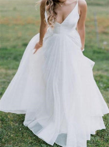 A Line V Neck Organza Beach Wedding Dresses with Pleats