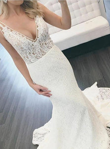 Mermaid V Neck Sweep Train Lace White Wedding Dresses