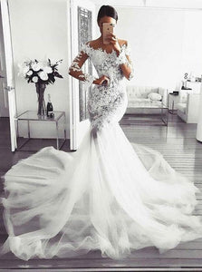 Mermaid V Neck Tulle Wedding Dresses with Appliques