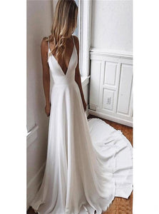 A Line Deep V Neck Satin Beach Wedding Dresses