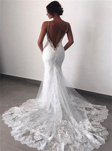 V Neck Sleeveless Wedding Dresses Lace Appliques