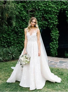 A Line Lace Wedding V Neck Wedding Dresses