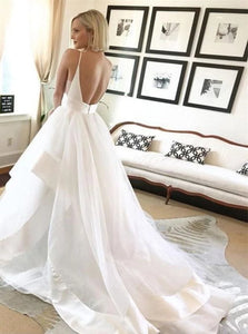 A Line White Tulle Sweep Train Wedding Dresses with Ruffles
