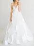 A Line V Neck Backless Tulle Wedding Dresses LBQW0038
