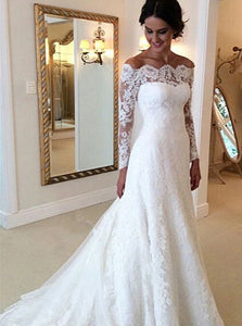 A Line Off The Shoulder Long Sleeves Tulle Wedding Dresses