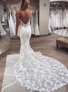 Mermaid Open Back Sweep Train Lace Wedding Dresses