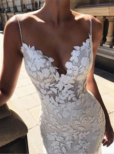 Mermaid V Neck Lace Applique White Wedding Dresses