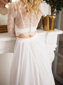 A Line Chiffon Long Sleeves Beach Wedding Dresses