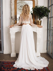 A Line Scoop Sweep Train Beach Wedding Dresses