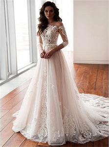 A Line Long Sleeves White Wedding Dresses With Sweep Train