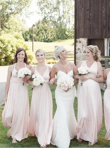 A Line Straps Pink Chiffon Pleats Bridesmaid Dresses