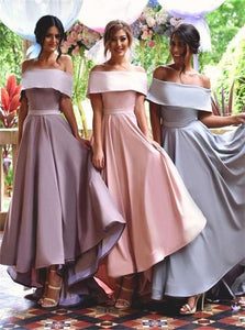 A Line Off The Shoulder Pink Pleats Satin Bridesmaid Dresses