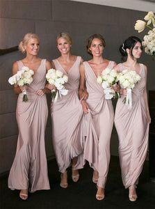 Sheath Pink Chiffon V Neck Pleats Bridesmaid Dresses
