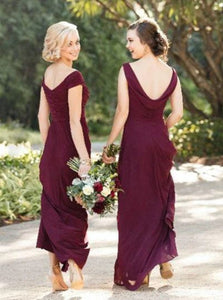 Sweep Train Burgundy Chiffon Open Back Bridesmaid  Dresses