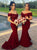 Mermaid Off Shoulder Dark Red Satin Bridesmaid Dress with Sequins
