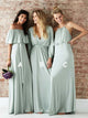 A Line Off the Shoulder Satin Half Sleeves Bridesmaid Dress with Pleats