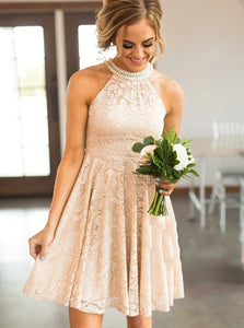 A Line Round Neck Short Pearl Pink Lace Bridesmaid Dress with Pearls