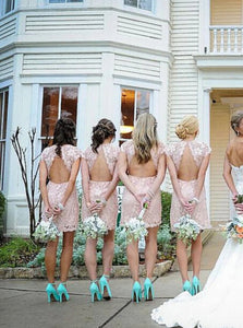 Scoop Open Back Lace Bridesmaid Dresses