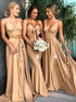 A Line Sweetheart V Neck Sweep Train Brown Satin Pleats Bridesmaid Dress LBQB0060