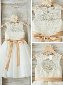 Sweep Train Ivory Flowers Girl Dresses