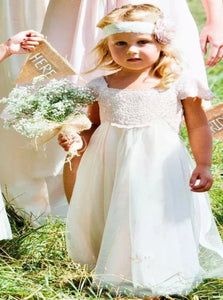 A Line Ivory Chiffon Lace Flower Girl Dresses