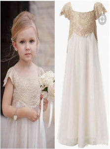 Square Neck A Line Flower Girl Dresses