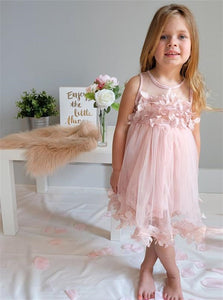 A Line Scoop Pink Tulle Pleats Flower Girl Dresses